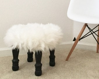 Fluffy White Foot Stool With Black Wood Legs, Black & White Modern Minimal Stool, Foot Stool Accent Piece, Regency Modern Foot Stool