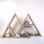 Hand Stained Triangle Wood Shelf, Home Decor Storage, Oak Wood Shelves, Modern Shelving, Minimal Design Shelves, Geometric Shelf