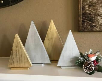 Gold and Silver Wood Christmas Trees