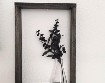 Wood Rectangle Shelf, Hand Stained Square Shelf, 3D Shelf, Home Decor