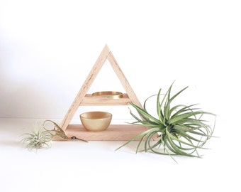 Painted Wood Triangle Shelf, Geometric Wood Shelves, Modern Shelving, Minimal Design Shelves, Geometric Shelf