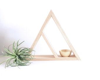 Stained Wood Triangle Shelf, Oak Wood Shelves, Modern Shelving, Minimal Design Shelves, Geometric Shelf