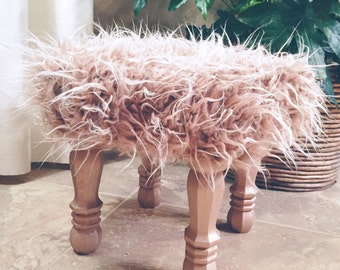 Rosy Metallic Rose Gold Faux Fur Stool, Metallic Rose Gold Wood Legs, Foot Stool Accent Piece, Regency Modern Foot Stool