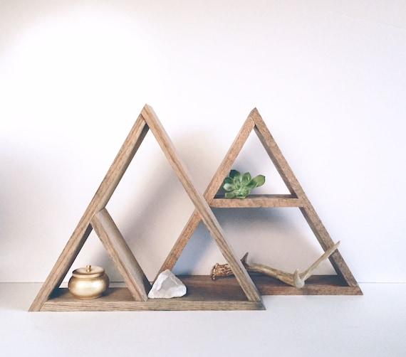 Minimalétagère en rangementétagères boisdécoration bois Triangle teinté chênemoderneétagèresétagères main Design étagère La géométrique WD2I9HYE