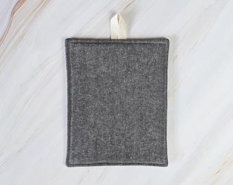 Charcoal Black Linen Modern Pot Holder