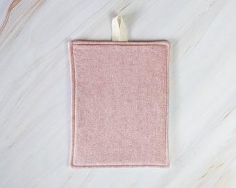 Berry Pink Linen Modern Pot Holder