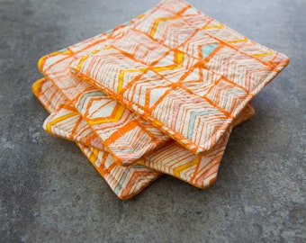 Orange and White Triangle Patterned Modern Quilted Coasters - Set of 4