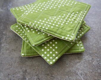 Green and White Dotted Modern Quilted Coasters - Set of 4