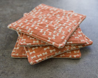 Peach and Cream Bow Tie Modern Quilted Coasters - Set of 4