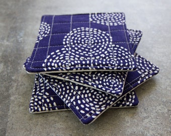 Blue and White Modern Quilted Coasters - Set of 4