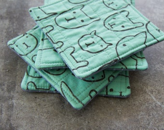 Seaglass Green Animal Pattern Modern Quilted Coasters - Set of 4