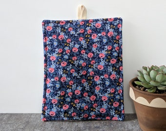 Navy and Coral Floral Rifle Paper Co Potholder