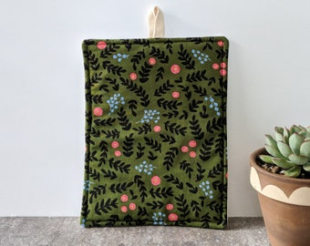 Green and Black Floral Rifle Paper Co Potholder