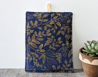 Navy Blue and Gold Metallic Floral Rifle Paper Co Potholder