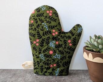 Oven Mitt, Rifle Paper Co, Green Floral, Kitchen Decor, Housewarming Gift, Best Friend Gift