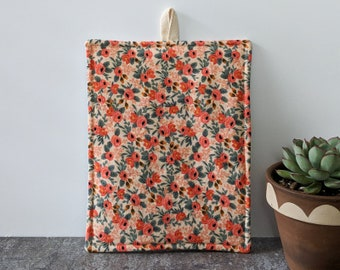 Blush Pink and Coral Floral Rifle Paper Co Potholder