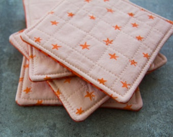 Pink and Orange Star Modern Quilted Coasters - Set of 4