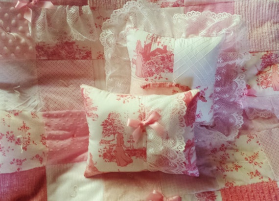 Peachy pink vintage chenille pillow