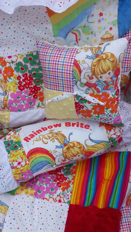 Vintage Rainbow Brite Chenille Minky Patchwork Baby Girl