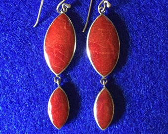 Vintage 1960s Scandinavian Red Sponge Coral & 925 Silver Double Leaf Drop Earrings