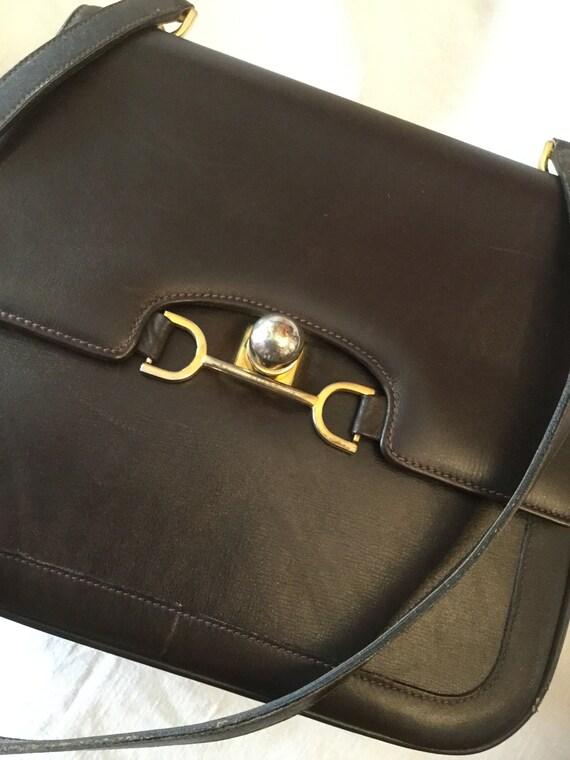 cb70627e3e5 Vintage 1950s Launer Brown Leather Handbag with Metallic   Etsy