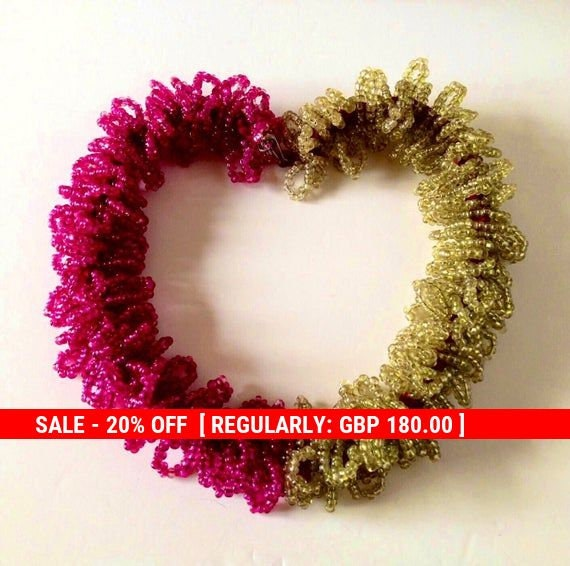 Pink & Green Beaded 1930s Lei Necklace