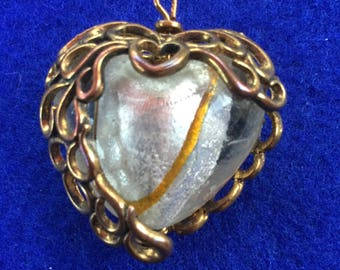 Beautiful 1950s Murano or Venetian Glass Heart Pendant In Copper Cage on Chain