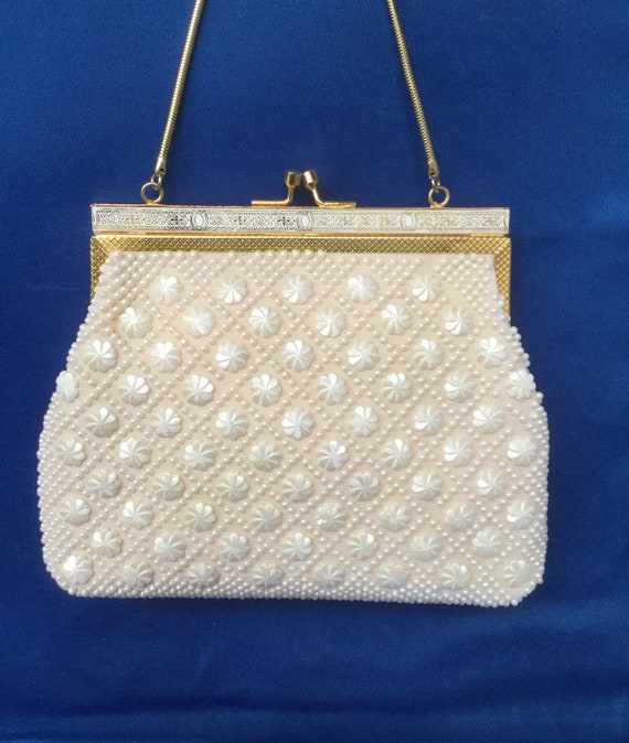 White beaded 1960s Evening Bag - image 2