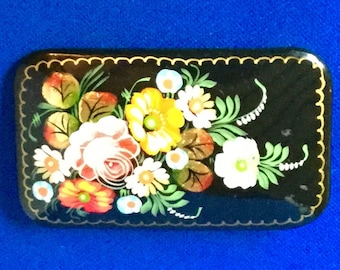 Hand-painted Russian Lacquered Papier-Mache Brooch with Unique Signature.