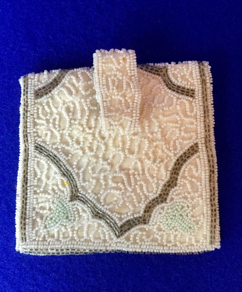 Antiques Imported From Abroad Antique Art Deco Crochet Jet Black Fringe Mirror Reticule Fringe Bead Purse