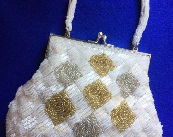 1950s White Beaded Evening Bag with Gold and Silver Rose Motifs