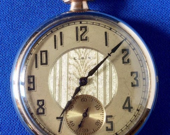 Elgin American Rolled Gold 1922 Art Deco Pocket Watch Serial Number 24651039 In Perfect Working Order