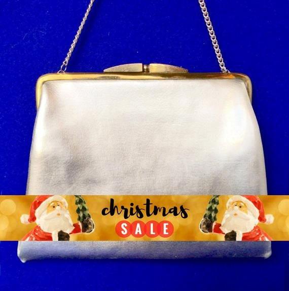 Vintage 1950s Silver Lame Handbag - image 1