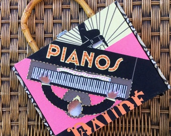 Vintage 'Honkytonk Piano'  Cigar Box Handbag with Sequinned Art Deco Piano Design