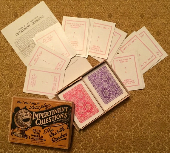 128 Questions H P G and S Ltd 1920s Impertinent Questions an Original Party Game with 64 Cards