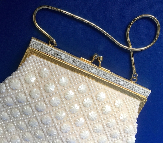 White beaded 1960s Evening Bag - image 1