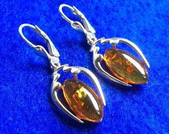 Sterling Silver Art Nouveau Earrings with Baltic Amber drops