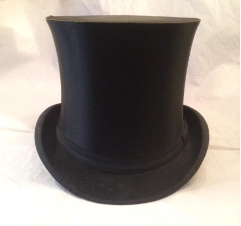 40cc017e7cd Antique Victorian French Satin Collapsible Top Hat CHAPEAUX