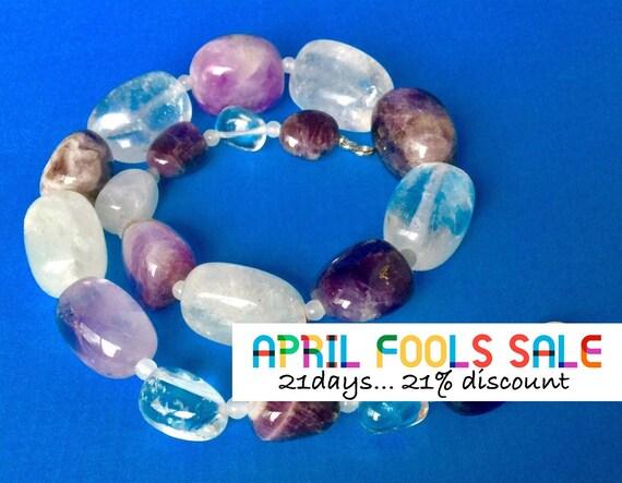 Amethyst 925 Rock Crystal Bead Long Tassel Fringe Pendant Necklace