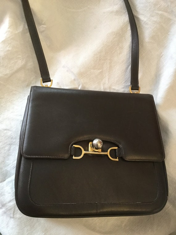 3a5969ff38002 Jahrgang 1950 Launer braun Lederhandtasche mit metallischen
