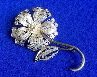 Filigree Silver Flower Brooch