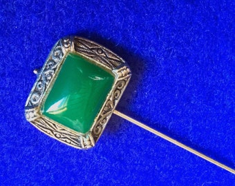 Silver tone Hat pin with a Green Glass Cabochon