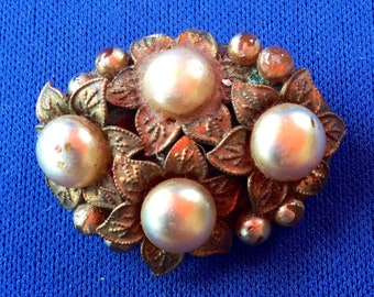 Edwardian Bohemian Brass and Faux Pearl Oval Brooch with Floral Motifs