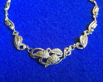 Rhodium backed Marcasite necklace from the 1940s