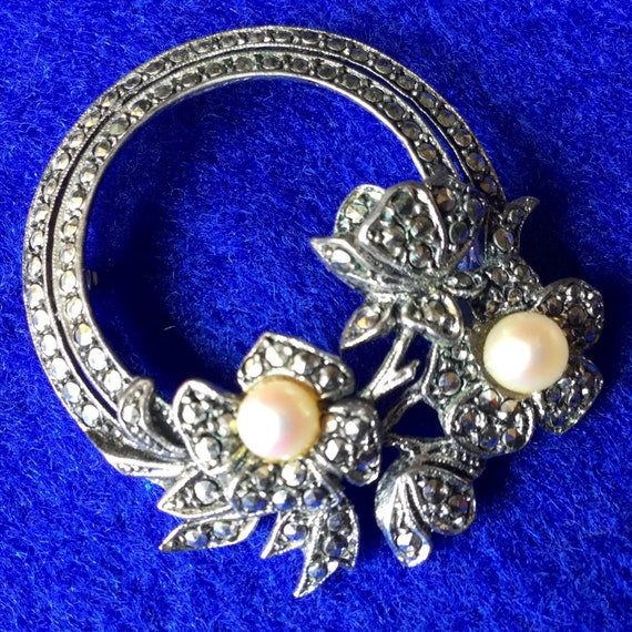 Edwardian Rhode Island Marcasite and Pearl Floral… - image 1