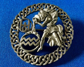 Metal Storm Aquarius Astrological Celtic Inspired Brooch Aquarius January 20 to February 19