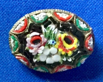 Edwardian Venetian Micro Mosaic Oval Brooch with Floral Motif