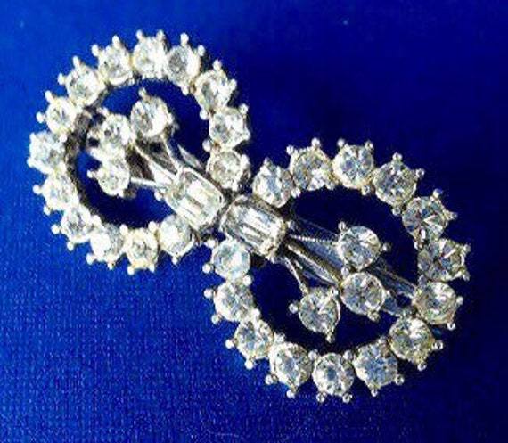 1930s Art Deco Diamante Duet Dress Clips and Brooc