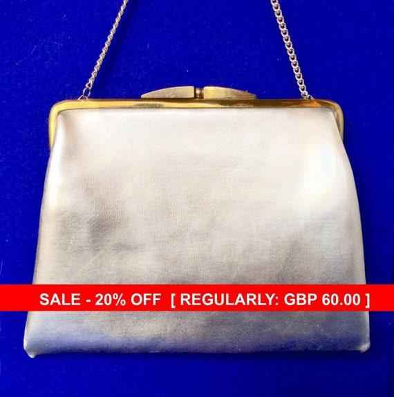 Vintage 1950s Silver Lame Handbag