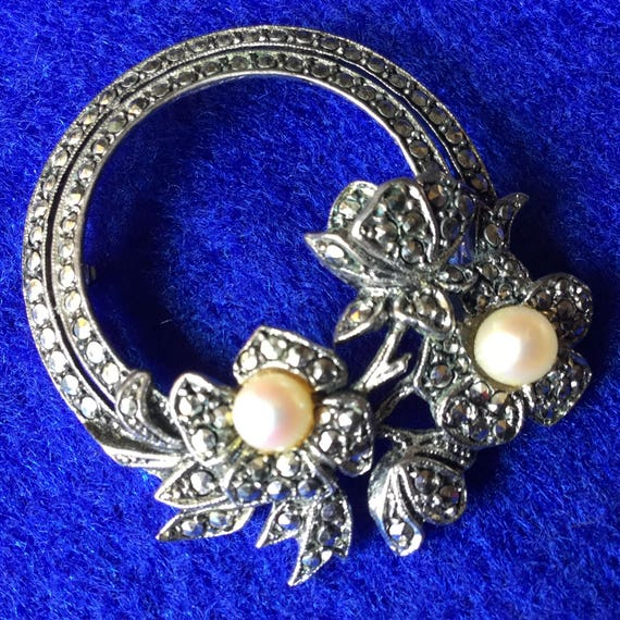 Edwardian Rhode Island Marcasite and Pearl Floral